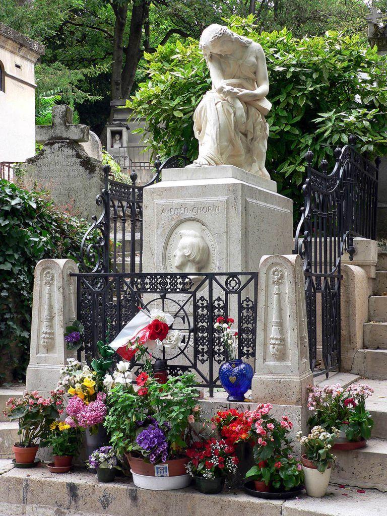 Túmulo de Chopin no Cemitério do Père Lachaise, em Paris
