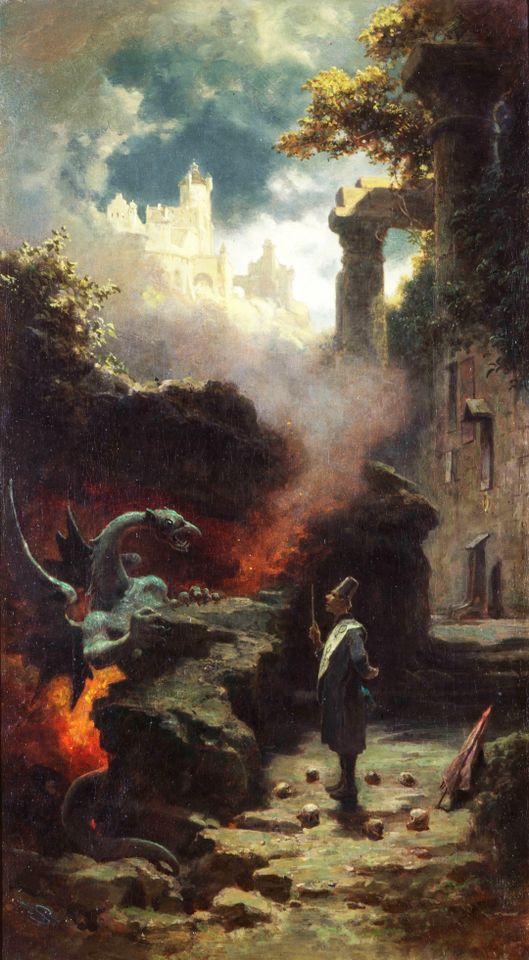 Carl Spitzweg, Der Hexenmeister (Feiticeiro e Dragão), 1875 – 1880. Coleção privada
