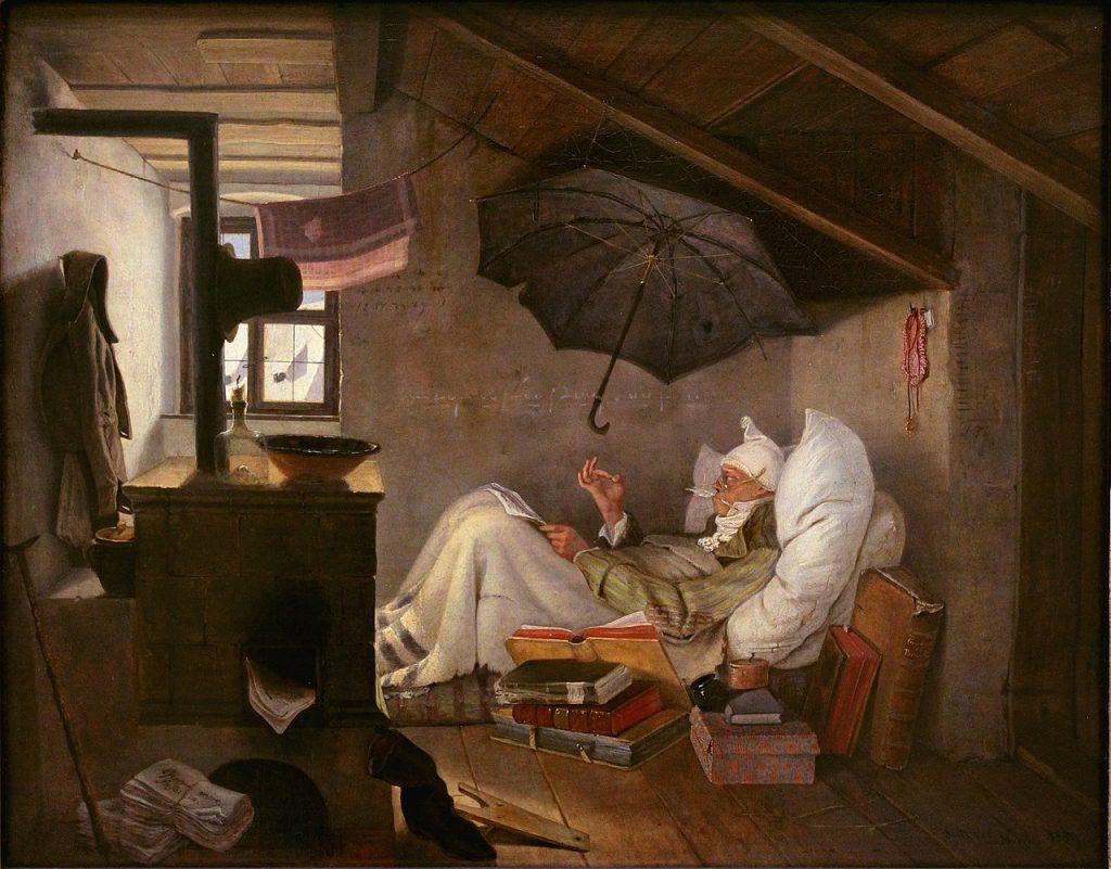 O pobre poeta ,1839. Neue Pinakothek, Munique, Alemanha.
