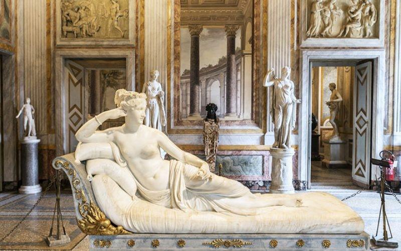 """Modelo em mármore de Carrara """"Paolina Borghese como Venus Victrix"""", 1804-08. Galeria Borghese, Roma."""