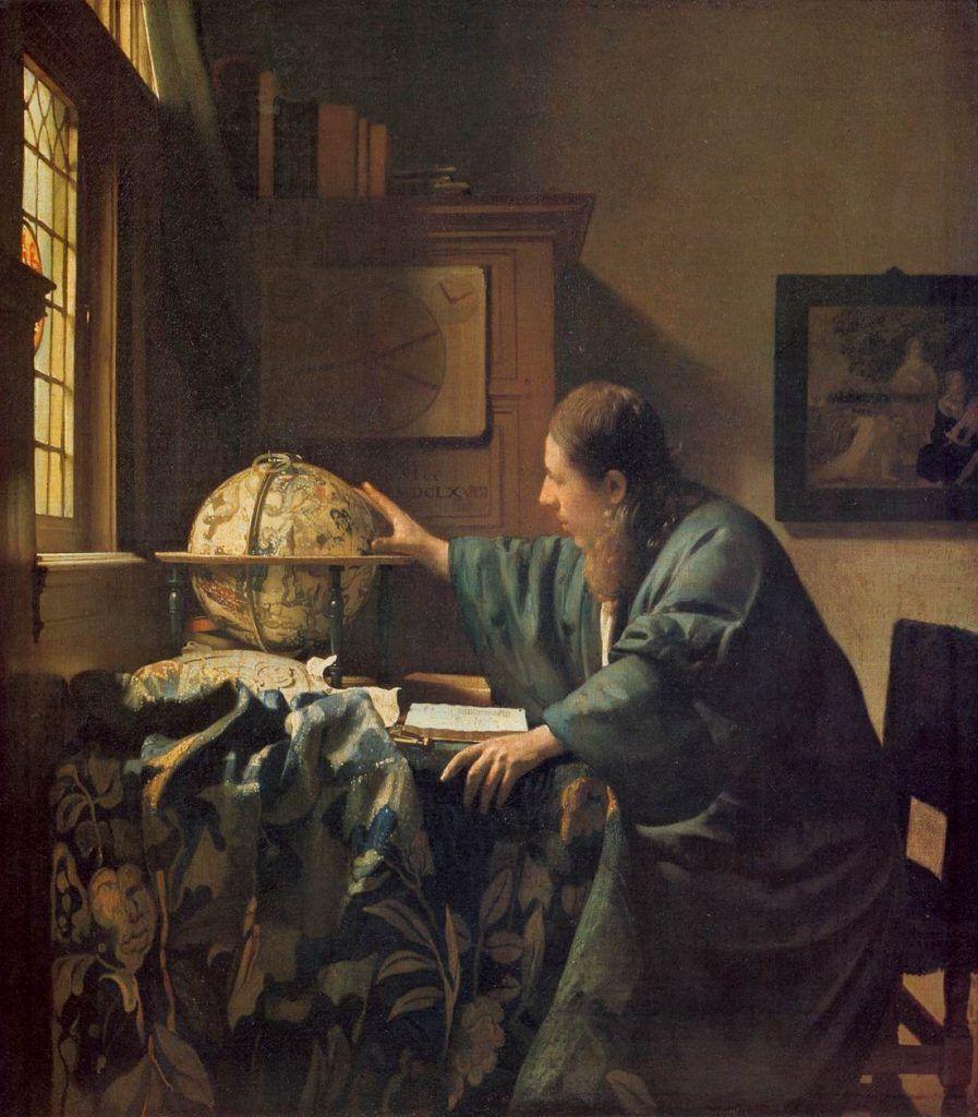 Vermeer, O Astrônomo, 1668. Louvre, Paris. Obra confiscada de Édouard de Rothschild, em Paris, em 1940. (Wikimedia Commons)