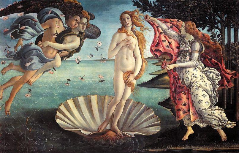 Nascimento de Vênus, c.1485. Galleria degli Uffizi, Florença. (Wikipedia Commons)